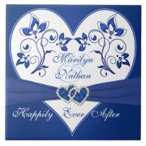 Royal Blue, White Floral Heart Wedding Tile