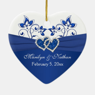 Royal Blue, White Floral Hearts 1st Christmas Ceramic Ornament