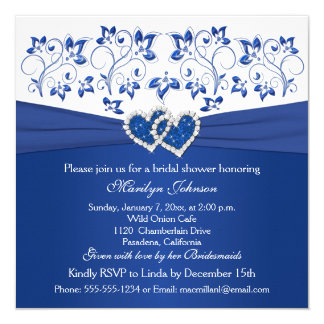 Royal Blue, White Floral Hearts Bridal Shower Card