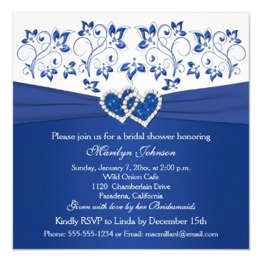 Valentines Themed Royal Blue, White Floral Hearts Bridal Shower Card