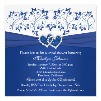Royal Blue, White Floral Hearts Bridal Shower Custom Invites