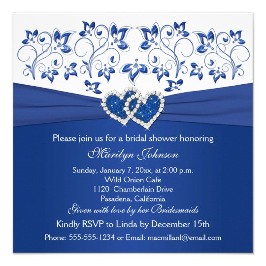 royal blue white floral hearts bridal shower invitation