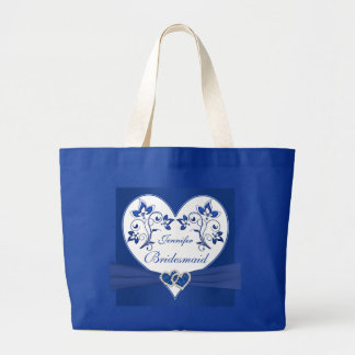 Royal Blue, White Floral Hearts Bridesmaid Bag