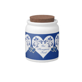 Royal Blue, White Floral Hearts Candy Jar