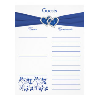 Royal Blue, White Floral Hearts Guest Book Paper Letterhead