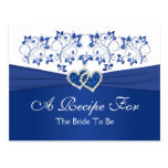 Royal Blue, White Floral Hearts Recipe Card Postcards