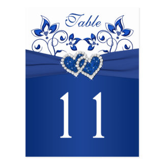 Royal Blue White Floral Hearts Table Number Card Post Card