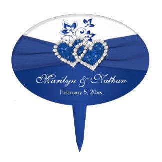 Royal Blue, White Floral Hearts Wedding Cake Pick
