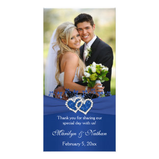 Royal Blue, White Floral Hearts Wedding Photo Card