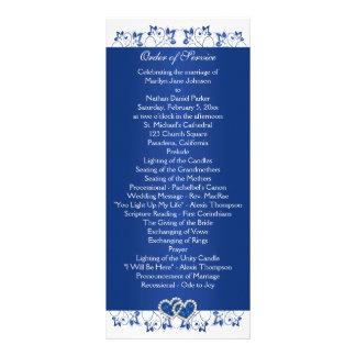Royal Blue, White Floral Hearts Wedding Program Customized Rack Card