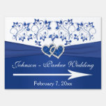 Royal Blue, White Floral Hearts Wedding Sign