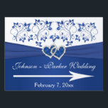"""Royal Blue, White Floral Hearts Wedding Sign<br><div class=""""desc"""">This elegant royal blue and white floral wedding signage has a PRINTED RIBBON with a pair of PRINTED FAUX glitter and diamond jewel joined hearts on it, along with a removeable directional arrow. It matches the wedding invitation shown below. If you would like a double-sided sign, please email your request...</div>"""