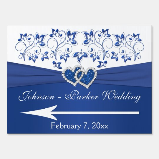 Royal Blue, White Floral Hearts Wedding Sign 2