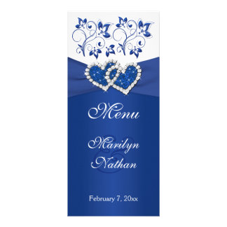Royal Blue, White Floral Joined Hearts Menu Card
