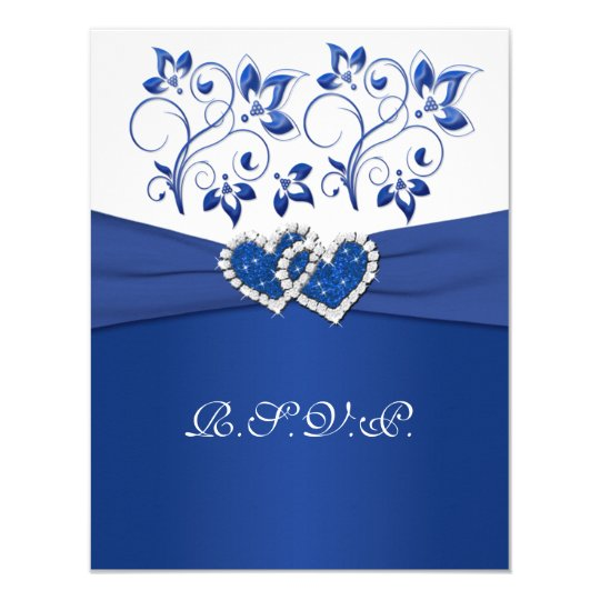 Royal Blue, White Floral Joined Hearts RSVP Card