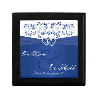 Royal Blue, White Floral Joined Hearts Trinket Box