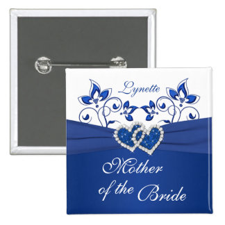 Royal Blue, White Floral Mother of the Bride Pin