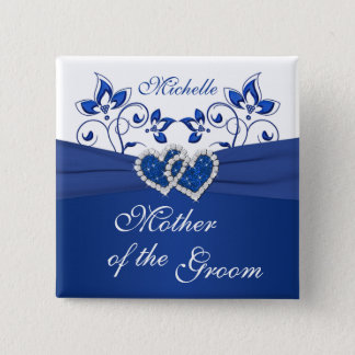 Royal Blue, White Floral Mother of the Groom Pin