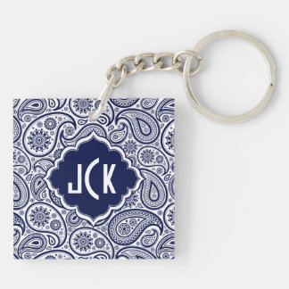 Royal Blue & White Floral Paisley 2 Pattern Keychain