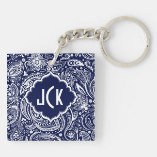 Royal Blue & White Floral Paisley Pattern Keychain