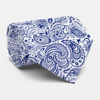 Royal Blue & White Floral Paisley Pattern Tie