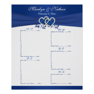 Royal Blue, White Floral Reception Seating Chart 2 Poster