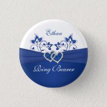 Royal Blue, White Floral Ring Bearer Pin
