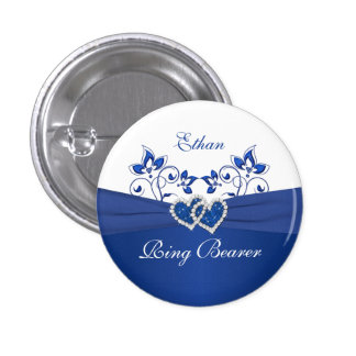 Royal Blue, White Floral Ring Bearer Pin