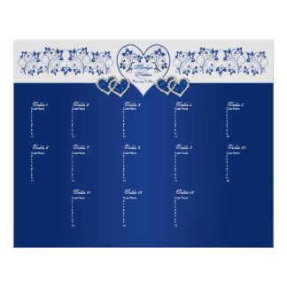 Royal Blue, White Floral Table Seating Poster