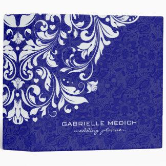 Royal Blue & White Floral Vintage Damasks 2 Vinyl Binders
