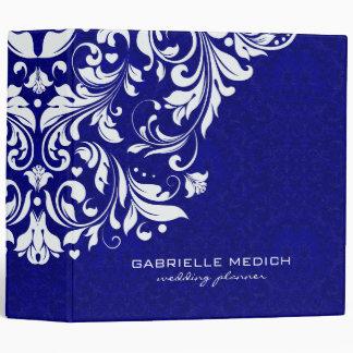 Royal Blue & White Floral Vintage Damasks 3 Ring Binder