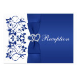 Royal Blue, White Floral Wedding Reception Card Large Business Cards (Pack Of 100)