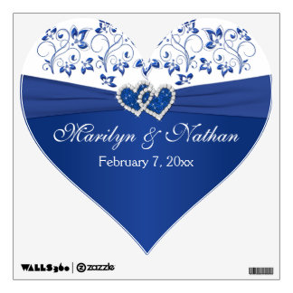 Royal Blue, White Floral Wedding Wall/Floor Decal