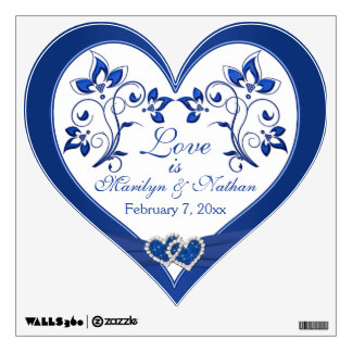 Royal Blue, White Floral Wedding Wall/Floor Decal Wall Graphics