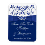 Royal Blue White Hearts Save the Date Flex Magnet