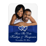 Royal Blue White Hearts Save the Date Photo Magnet