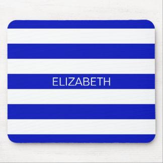 Royal Blue White Horiz Preppy Stripe Name Monogram Mouse Pad