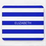 Royal Blue White Horiz Preppy Stripe Name Monogram Mousepads