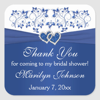 Royal Blue White Joined Hearts Bridal Shower Favor Square Sticker