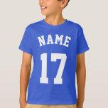 "Royal Blue &amp; White Kids   Sports Jersey Design T-Shirt<br><div class=""desc"">Royal Blue &amp; White Kids   Sports Jersey Design • Kids T-Shirt</div>"