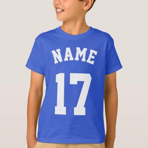 Royal Blue  White Kids  Sports Jersey Design T_Shirt
