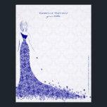 """Royal Blue &amp; White Lace Wedding Dress Floral Lace Letterhead<br><div class=""""desc"""">Elegant white and royal blue elegant vintage floral traditional lace wedding dress design letterhead template.</div>"""