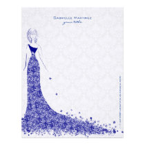 Royal Blue & White Lace Wedding Dress Floral Lace Letterhead