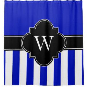 Royal Blue White LG Stripe 1ICBR Black Monogram Shower Curtain