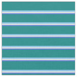 [ Thumbnail: Royal Blue, White, Light Sky Blue, and Teal Lines Fabric ]