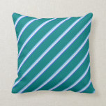 [ Thumbnail: Royal Blue, White, Light Sky Blue, and Teal Lines Throw Pillow ]