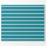 [ Thumbnail: Royal Blue, White, Light Sky Blue, and Teal Lines Wrapping Paper ]
