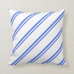 [ Thumbnail: Royal Blue & White Lines/Stripes Pattern Pillow ]