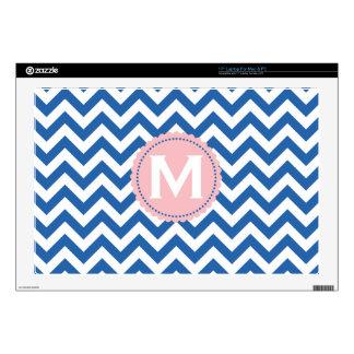 """Royal Blue White Monogram Chevron Pattern 17"""" Laptop Decal"""