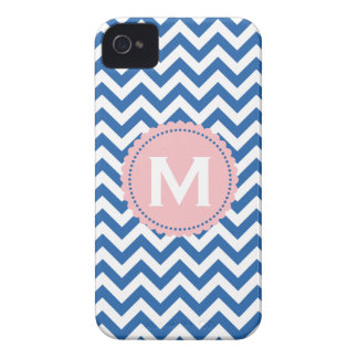 Royal Blue White Monogram Chevron Pattern iPhone 4 Covers